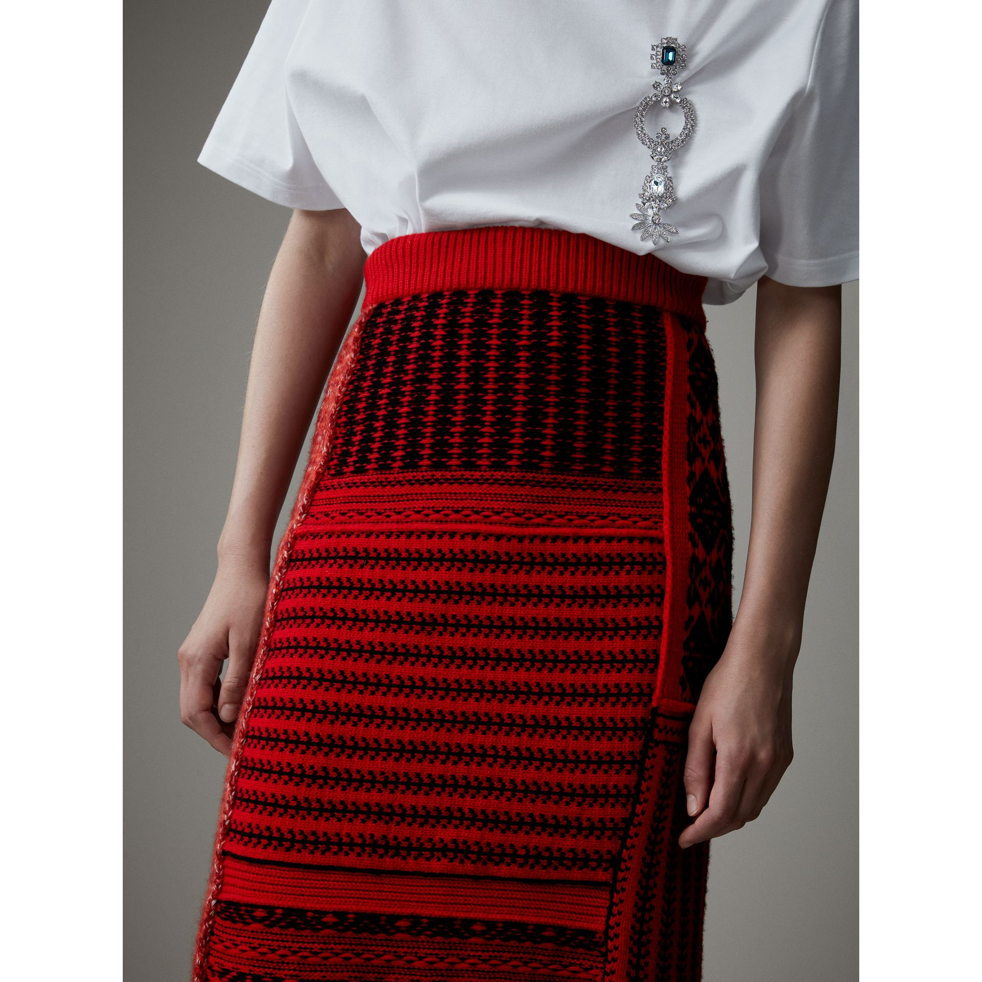 Geometric and Cable Knit Wool Cashmere Skirt in Red/black - Women | Burberry Australia - gallery image 1