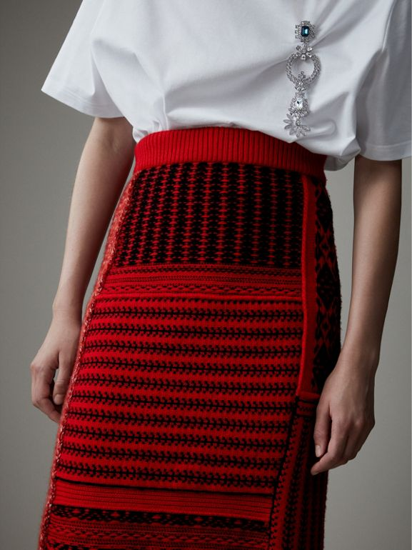 Geometric and Cable Knit Wool Cashmere Skirt in Red/black - Women | Burberry - cell image 1