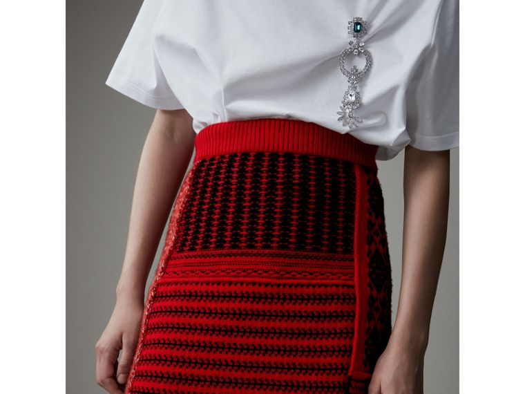 Geometric and Cable Knit Wool Cashmere Skirt in Red/black - Women | Burberry Australia - cell image 1