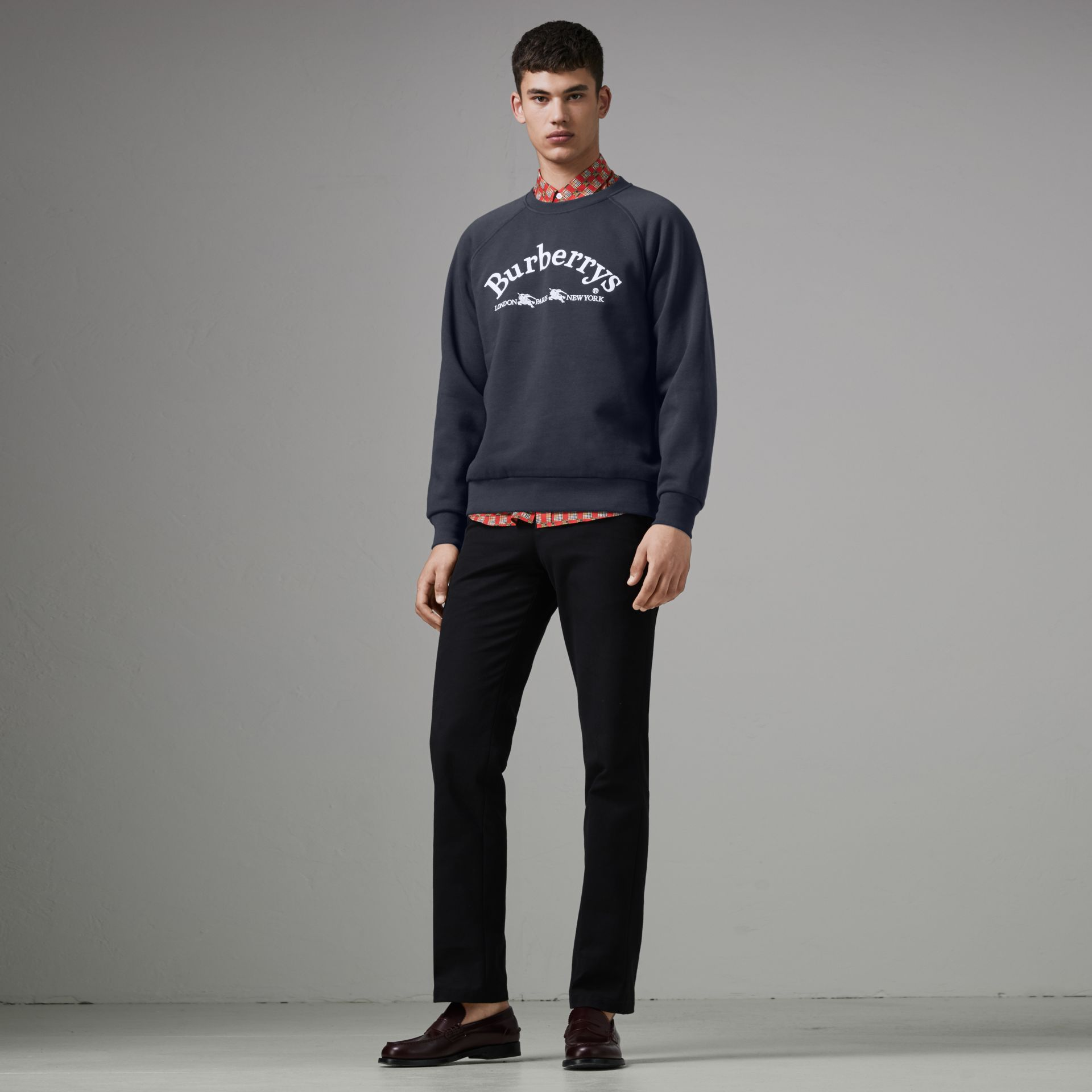 Embroidered Archive Logo Jersey Sweatshirt in Navy - Men | Burberry Canada - gallery image 0