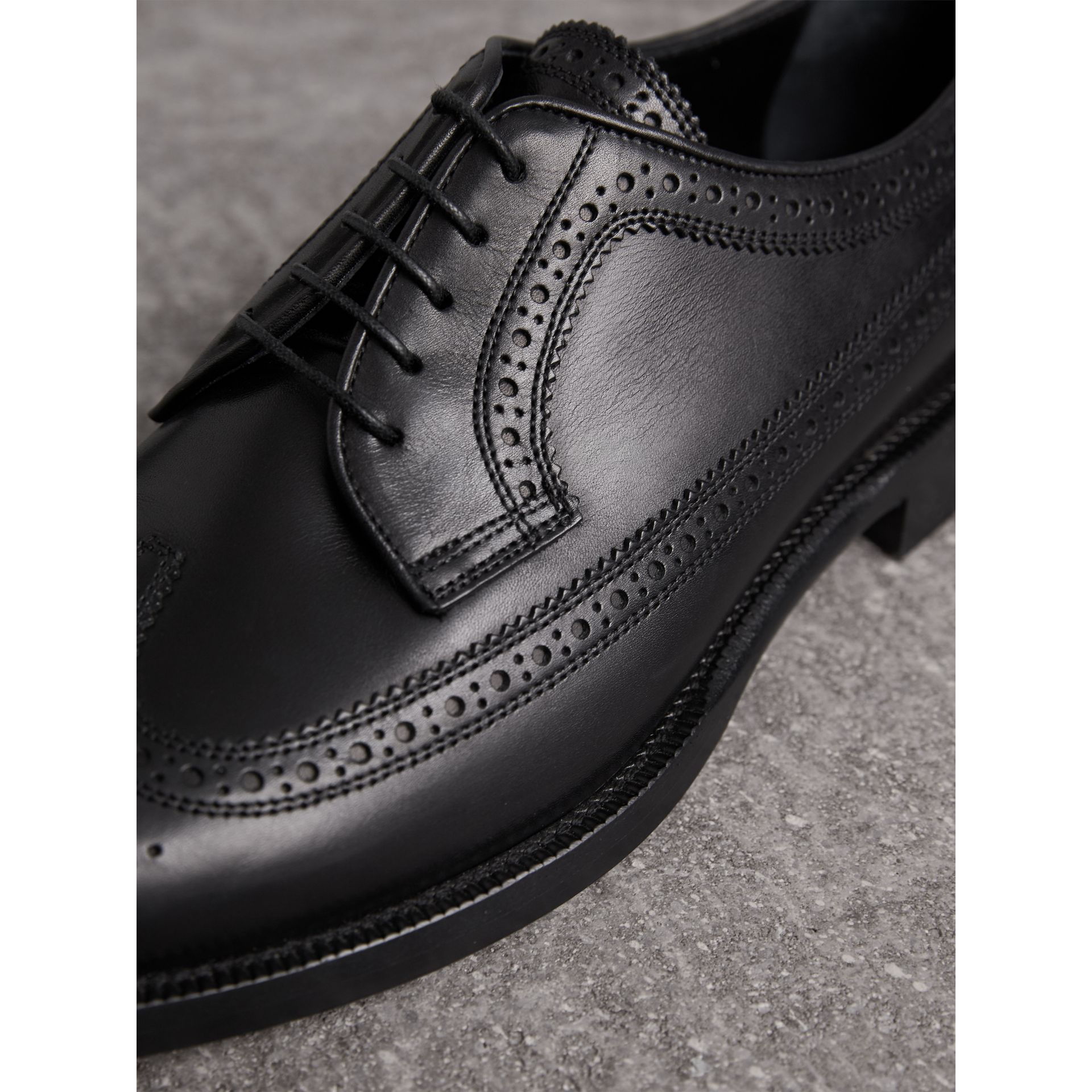 Leather Derby Brogues in Black - Men | Burberry United Kingdom - gallery image 1