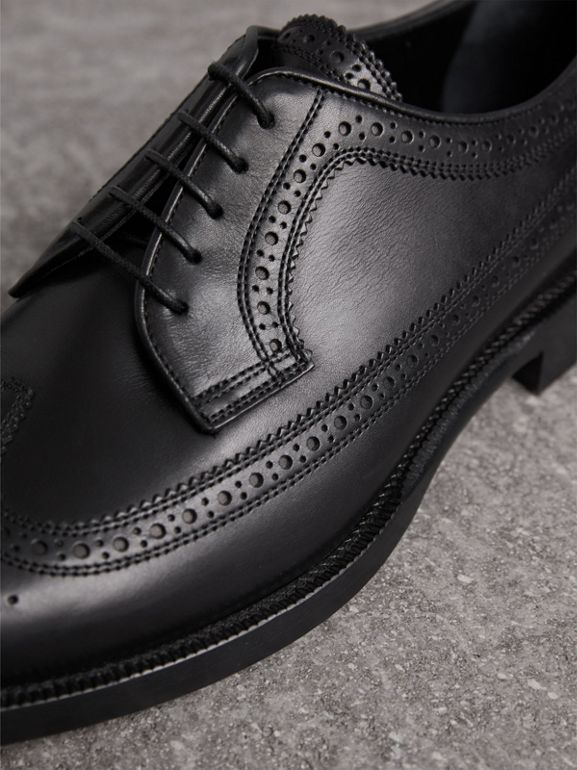 Leather Derby Brogues in Black - Men | Burberry United States - cell image 1
