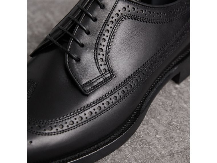 Leather Derby Brogues in Black - Men | Burberry Australia - cell image 1