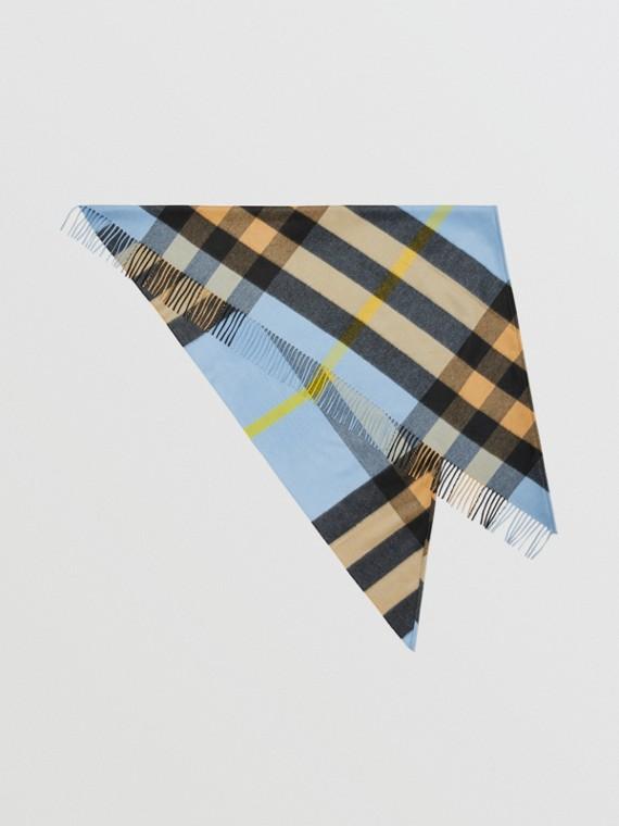 Burberry Bandana 格紋喀什米爾圍巾 (淡碳藍色)