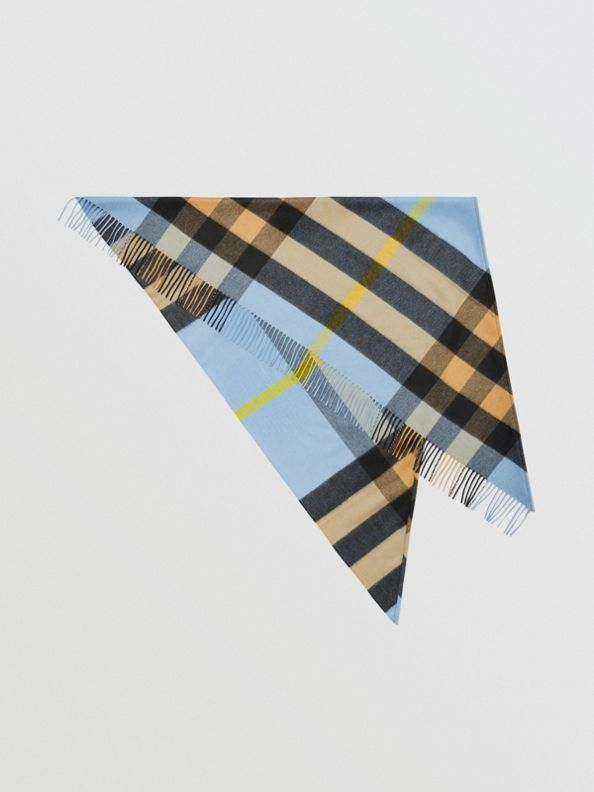 The Burberry Bandana in Check Cashmere in Pale Carbon Blue