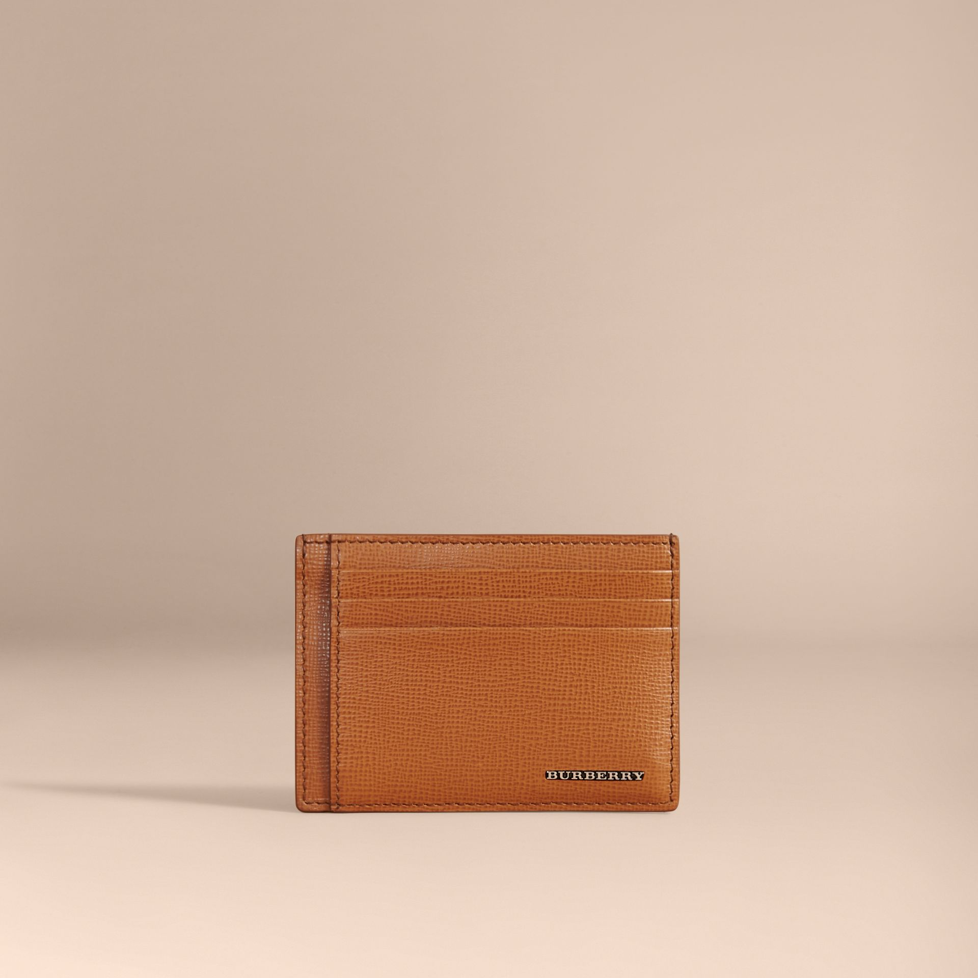 London Leather Money Clip Card Case in Tan - Men | Burberry - gallery image 5