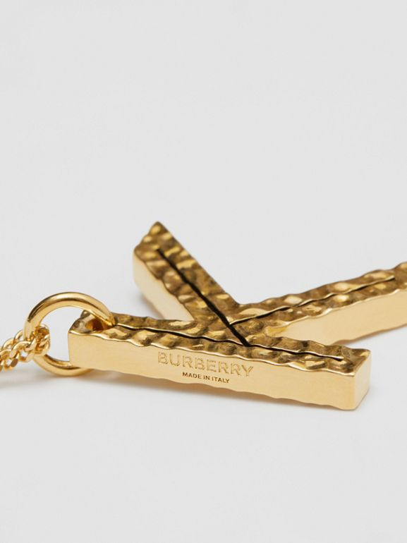 'K' Alphabet Charm Gold-plated Necklace in Light - Women | Burberry United Kingdom - cell image 1