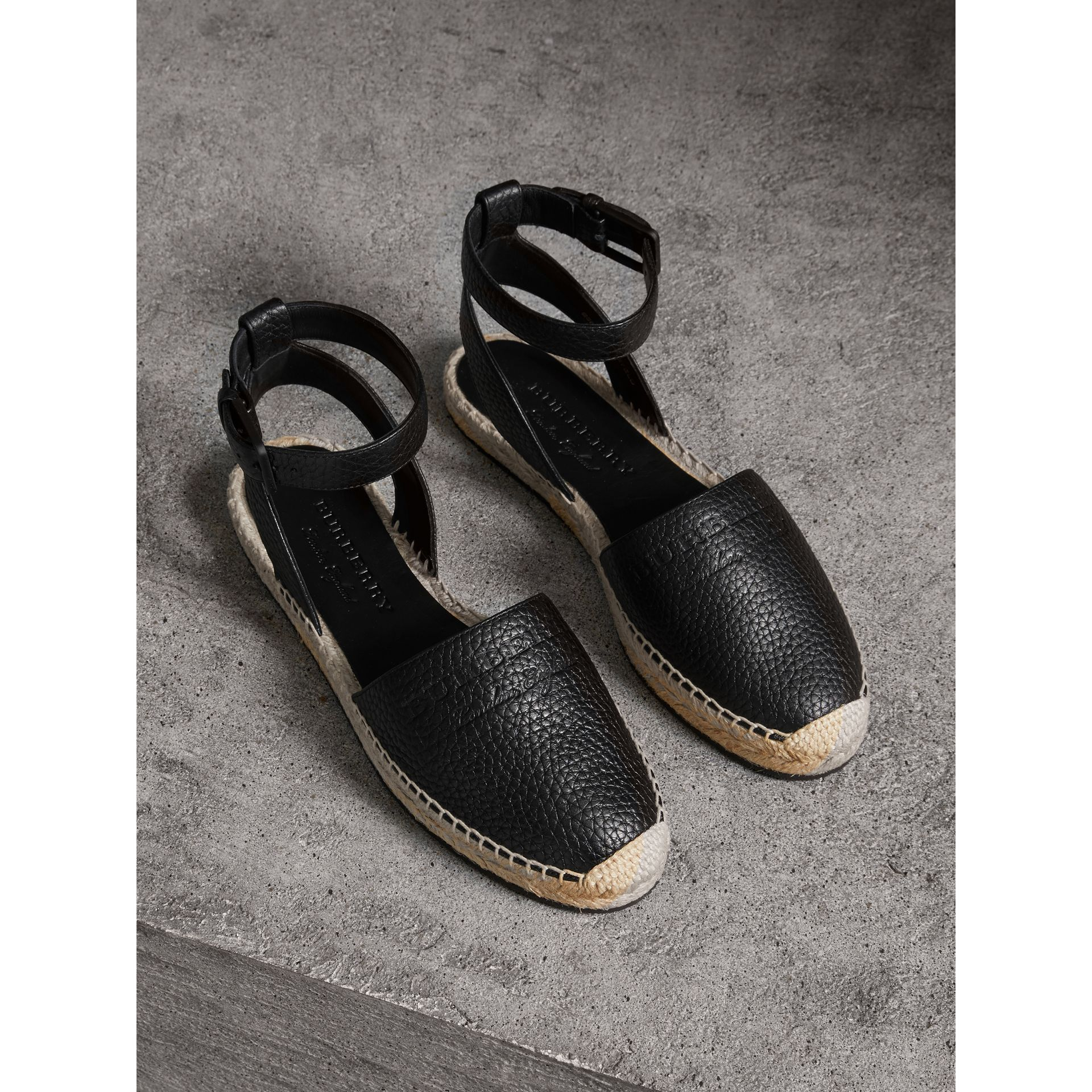 Embossed Grainy Leather Espadrille Sandals in Black - Women | Burberry - gallery image 0