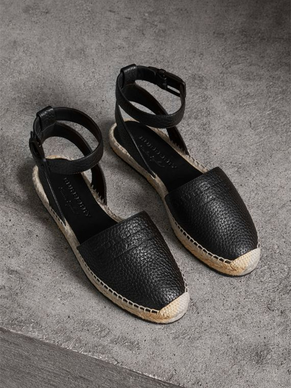 Embossed Grainy Leather Espadrille Sandals in Black