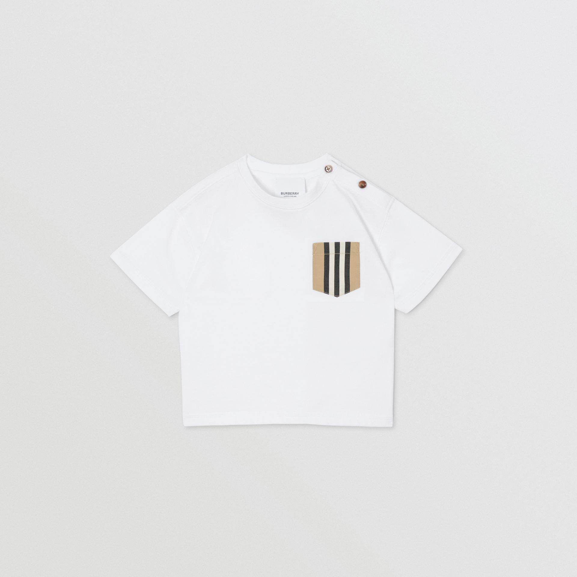 Icon Stripe Pocket Cotton T-shirt in White/archive Beige - Children | Burberry - gallery image 0