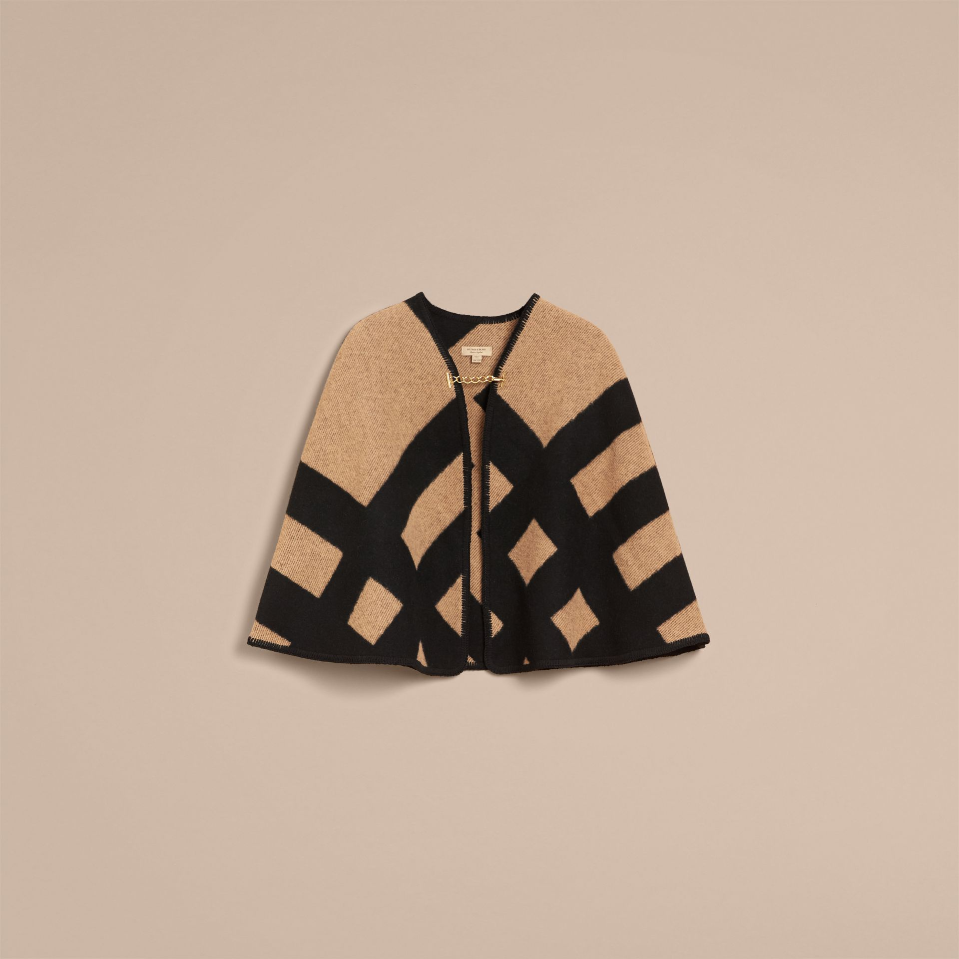 Check Wool Cashmere Blanket Cape in Camel/black - Women | Burberry - gallery image 4