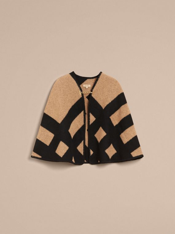 Check Wool Cashmere Blanket Cape in Camel/black - Women | Burberry - cell image 3