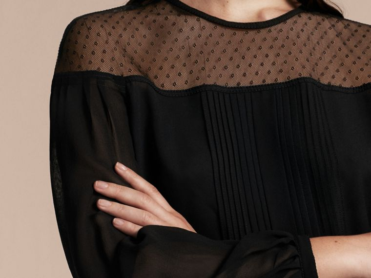 Black Silk Blouse with Net Yoke and Pintuck Detail - cell image 4
