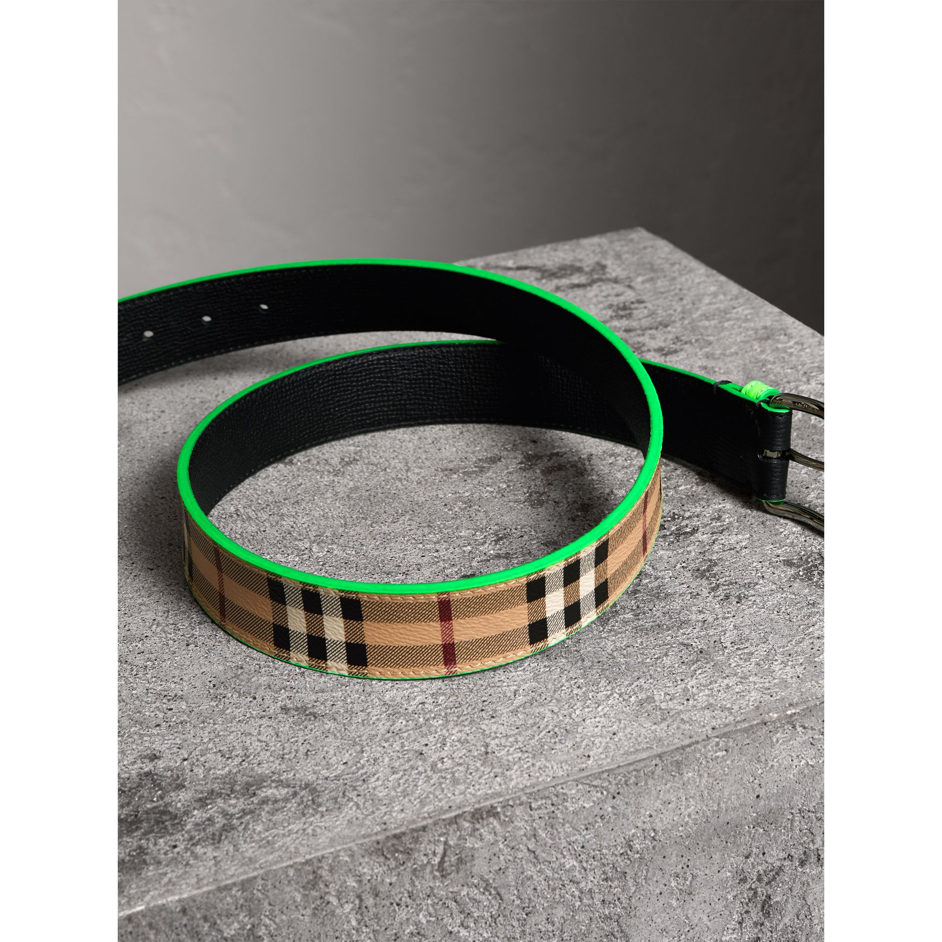 Haymarket Check and Leather Belt in Neon Green - Men | Burberry - gallery image 3