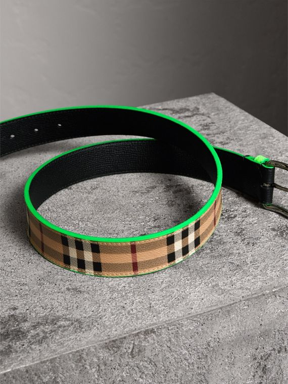 Haymarket Check and Leather Belt in Neon Green - Men | Burberry - cell image 3