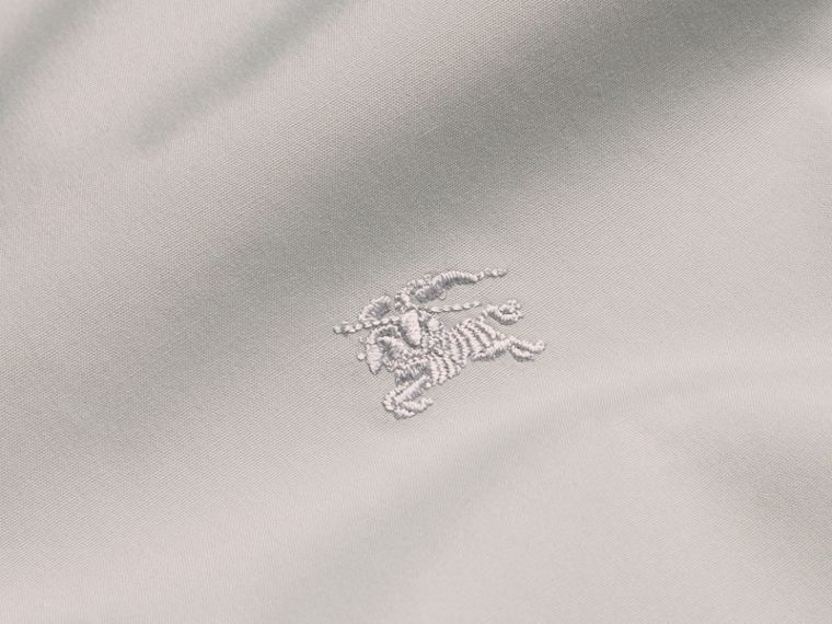 Check Detail Stretch Cotton Poplin Shirt in Pale Grey - Men | Burberry - cell image 1