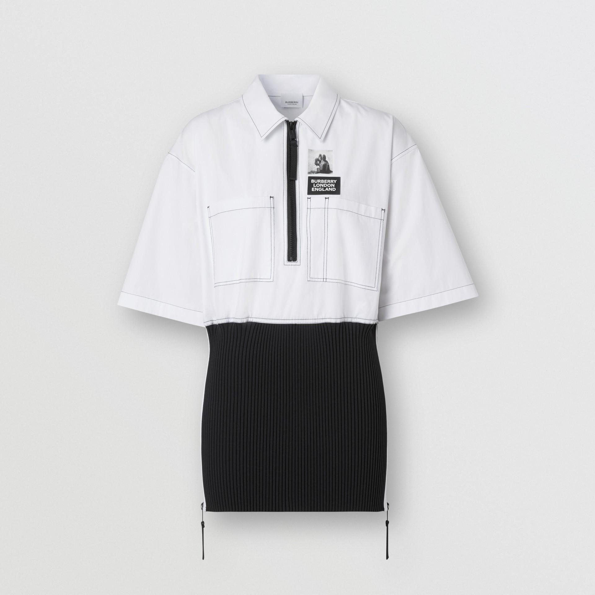 Объемная футболка с трикотажной отделкой (Оптический Белый) - Для женщин | Burberry - изображение 4