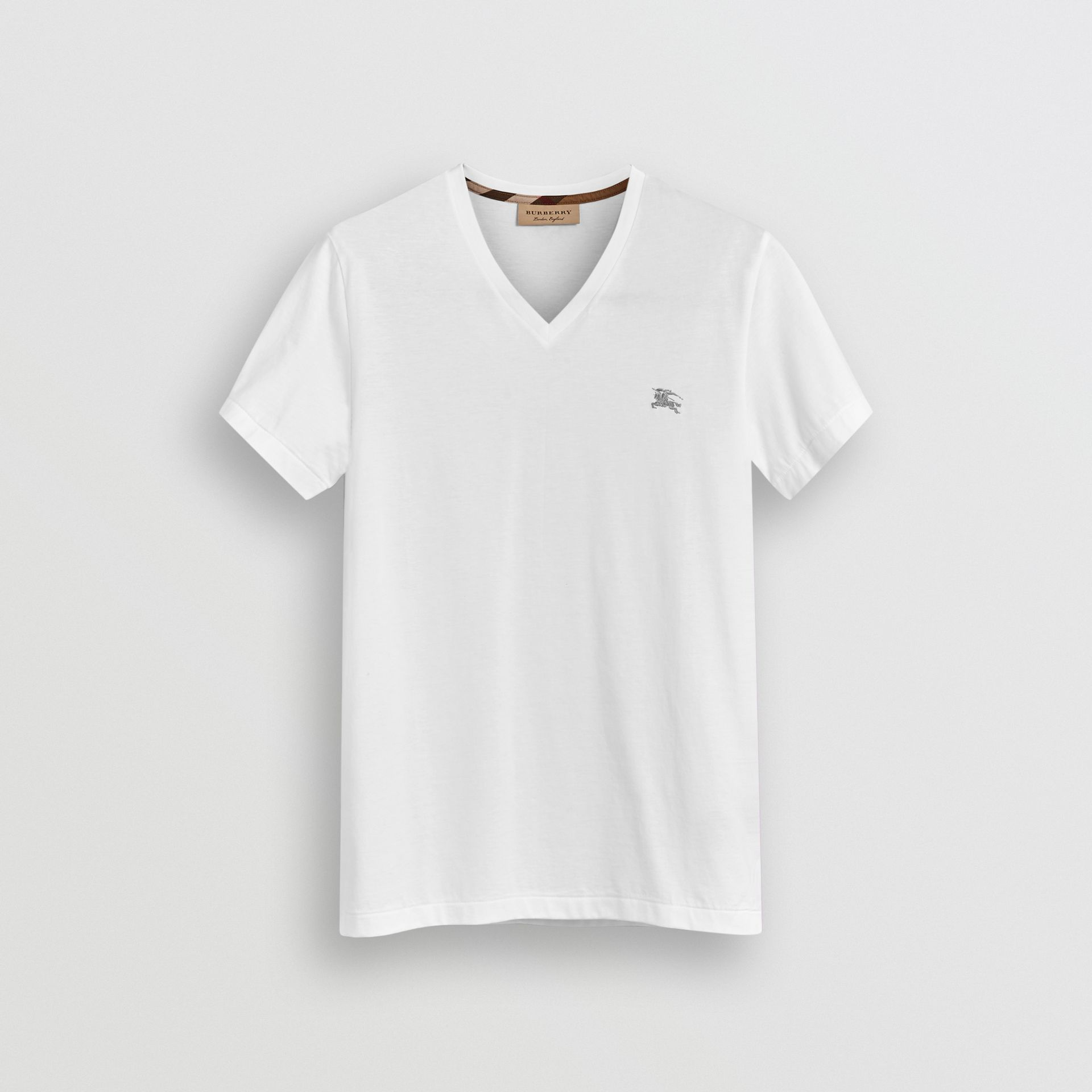 Cotton Jersey T-shirt in White - Men | Burberry - gallery image 3