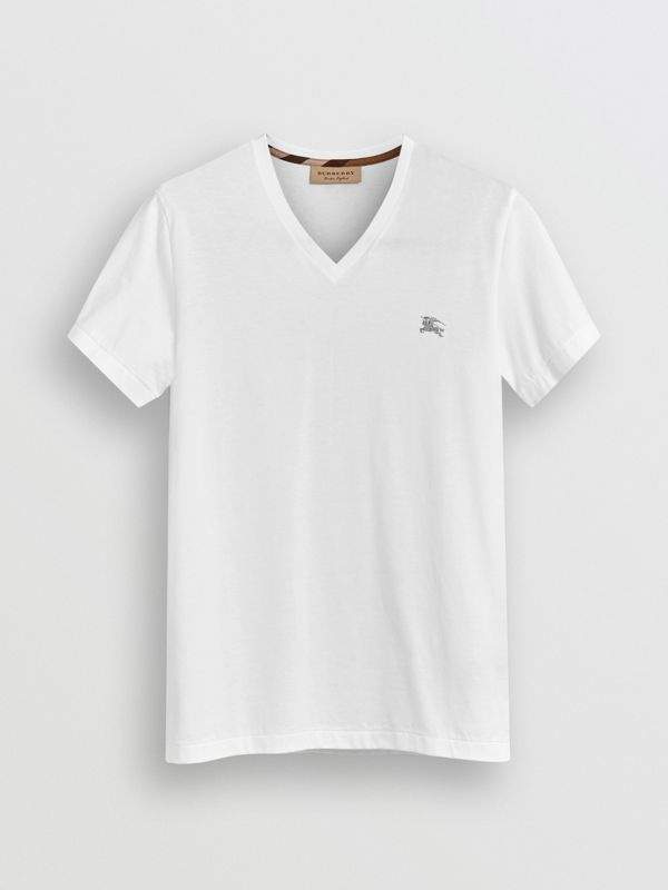 Cotton Jersey T-shirt in White - Men | Burberry Hong Kong - cell image 3