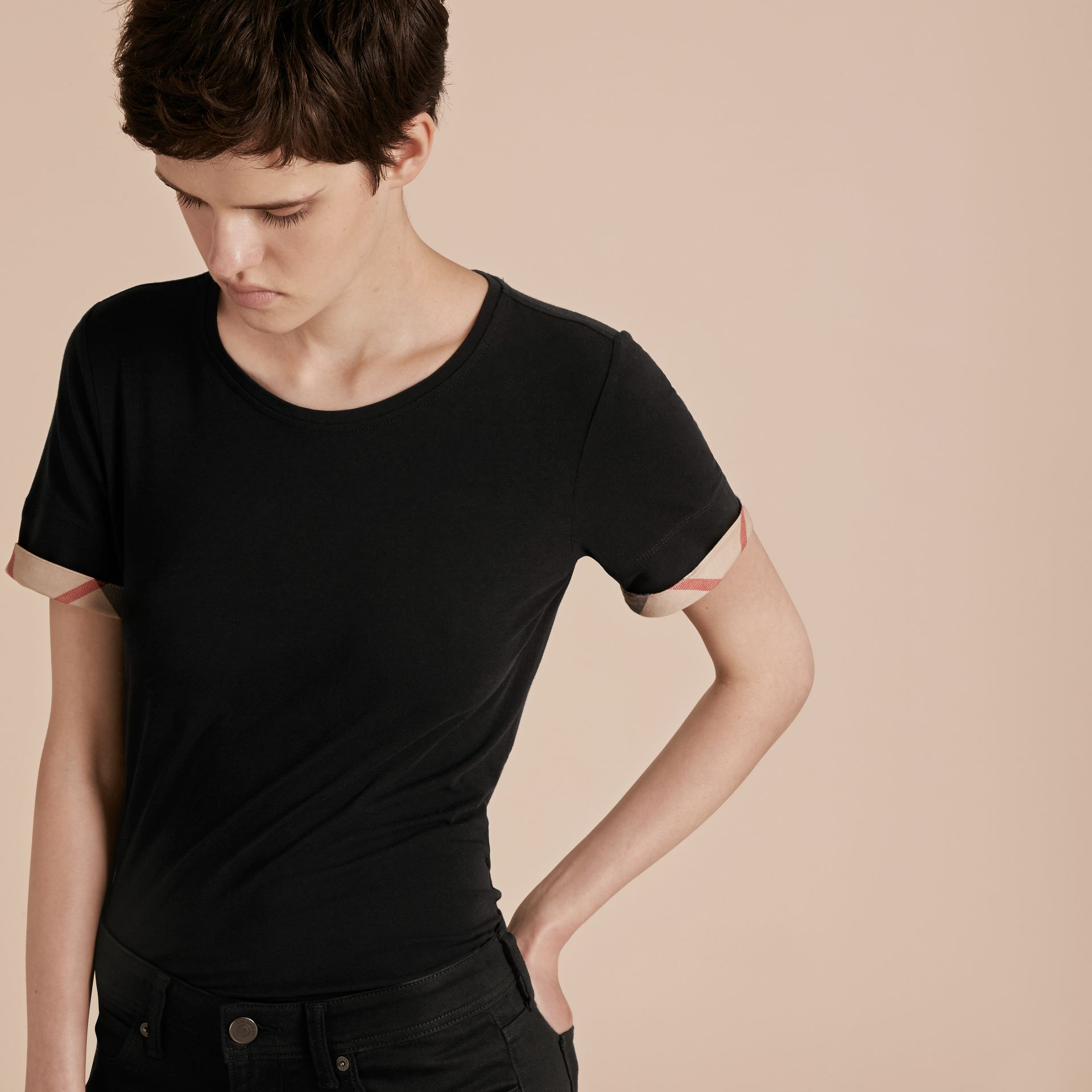 Check Cuff Stretch Cotton T-Shirt in Black - Women | Burberry - gallery image 5