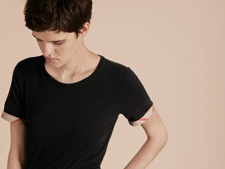 Check Cuff Stretch Cotton T-Shirt in Black - Women | Burberry - cell image 4
