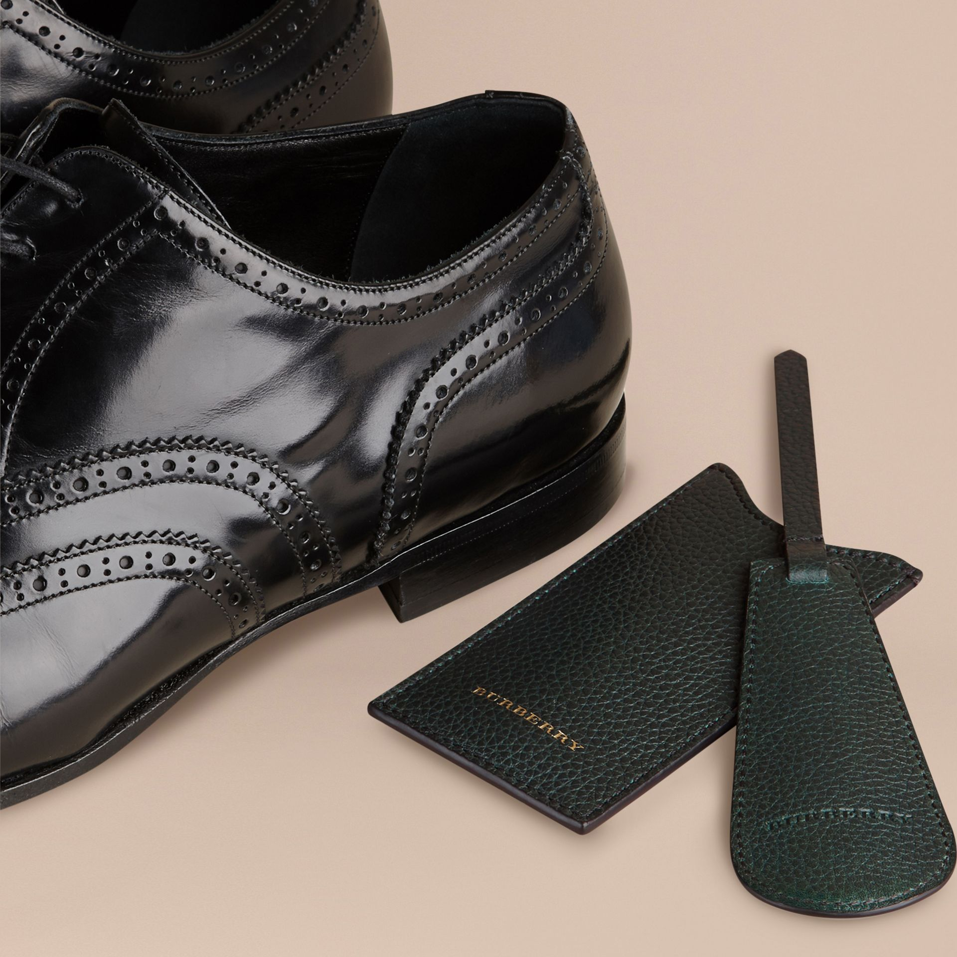 Leather Shoe Horn in Dark Forest Green - Men | Burberry - gallery image 3