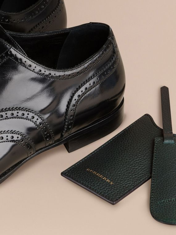 Leather Shoe Horn in Dark Forest Green - Men | Burberry - cell image 2