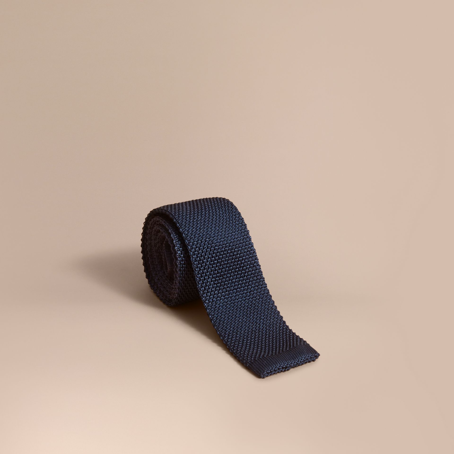 Slim Cut Knitted Silk Tie in Navy - gallery image 1