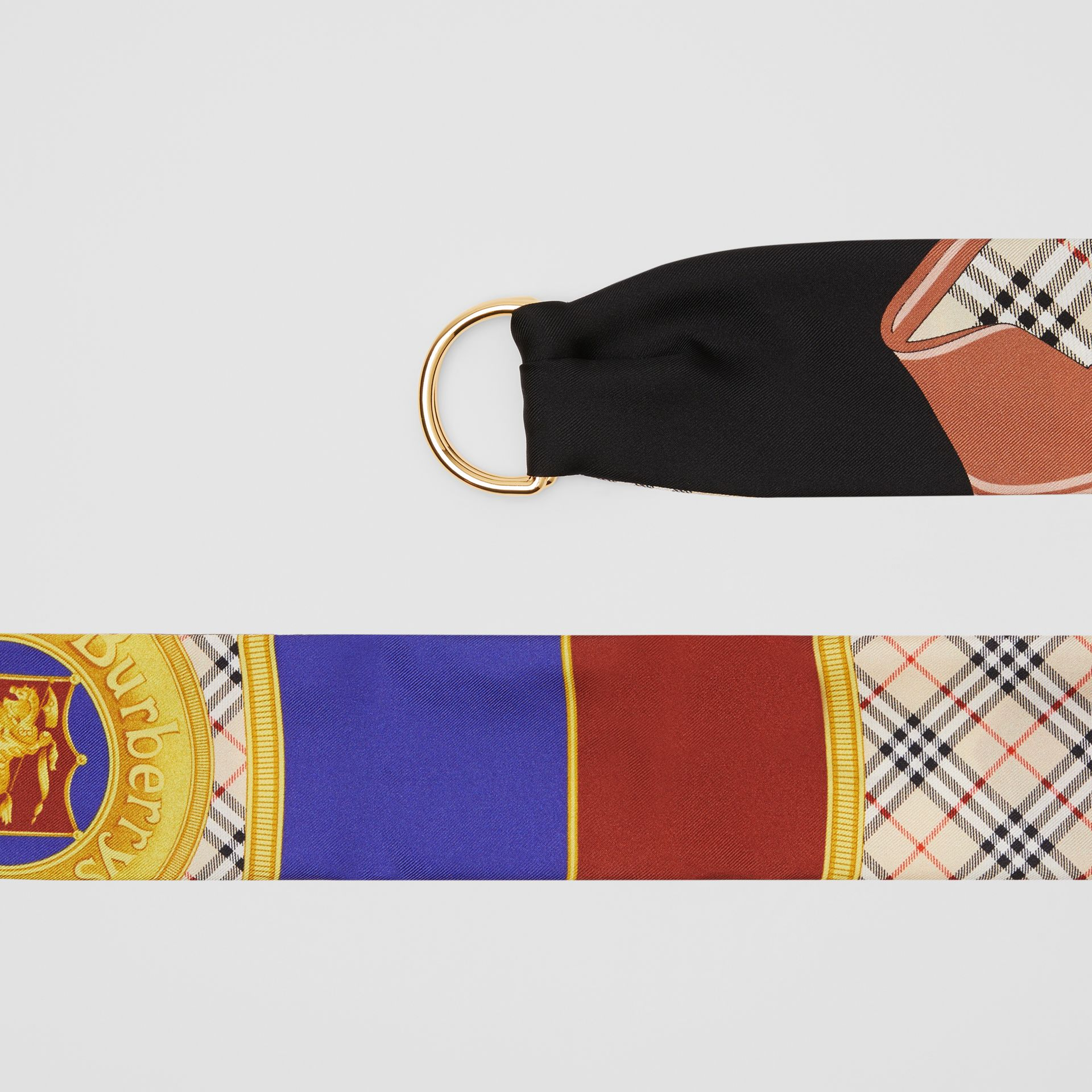 D-ring Detail Archive Print Silk Skinny Scarf in Multicolour - Women | Burberry - gallery image 1