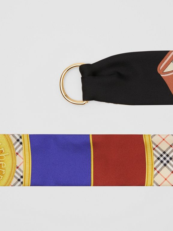 D-ring Detail Archive Print Silk Skinny Scarf in Multicolour - Women | Burberry - cell image 1