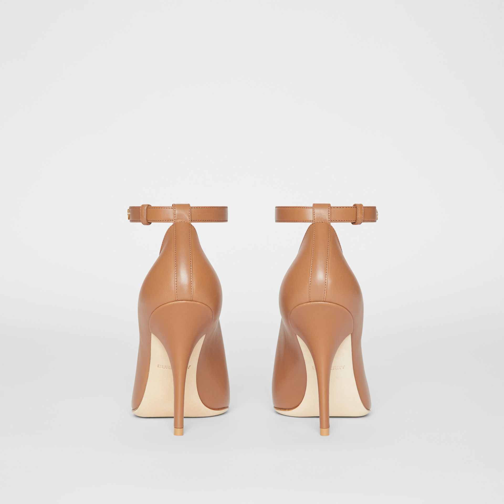 Leather Peep-toe Pumps in Amber Brown - Women | Burberry Hong Kong - gallery image 3