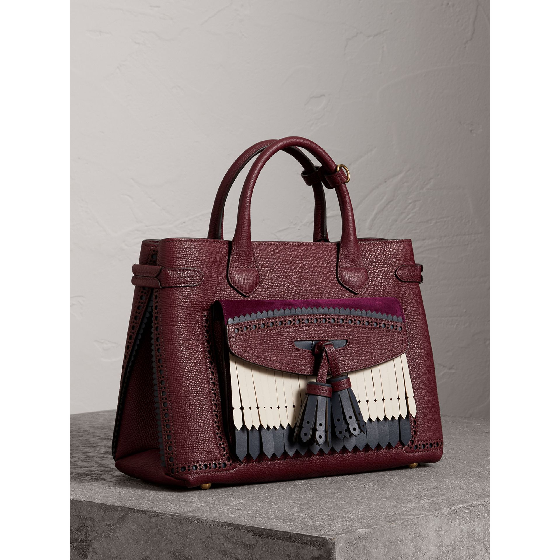 The Medium Banner in Leather with Fringed Pocket in Mahogany Red - Women | Burberry - gallery image 1