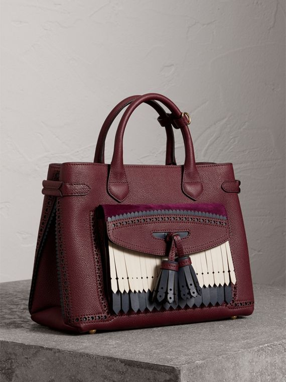 The Medium Banner in Leather with Fringed Pocket in Mahogany Red