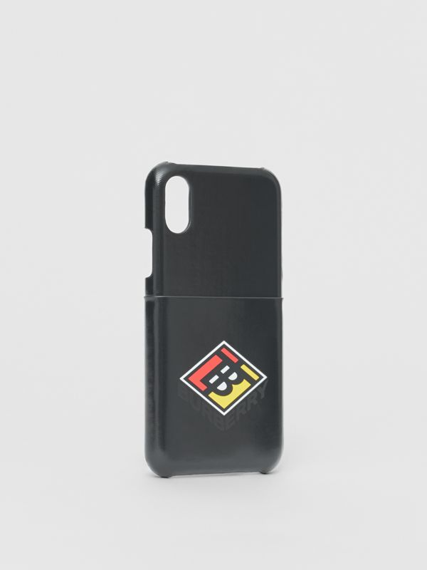 Logo Graphic Canvas iPhone X/XS Case in Black | Burberry - cell image 2