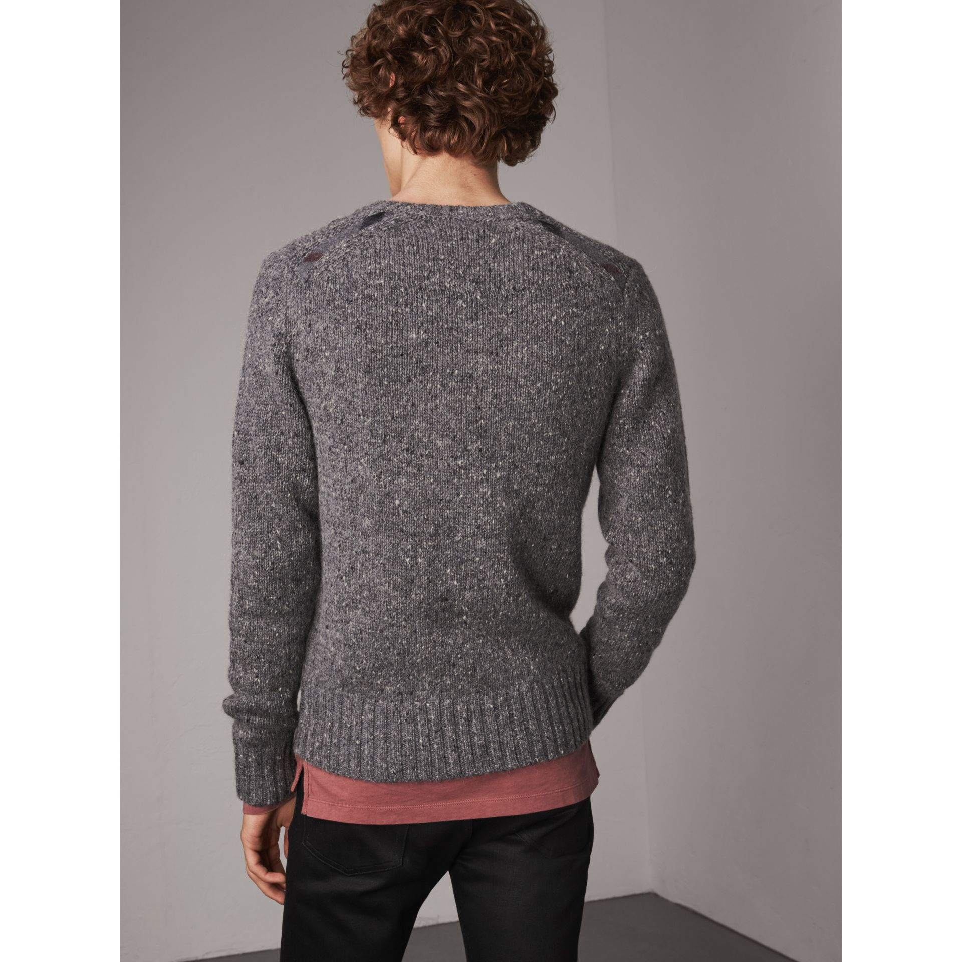 Wool Cashmere Mohair Tweed Sweater in Dark Grey Melange - Men | Burberry - gallery image 3
