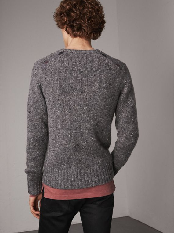 Wool Cashmere Mohair Tweed Sweater in Dark Grey Melange - Men | Burberry - cell image 2