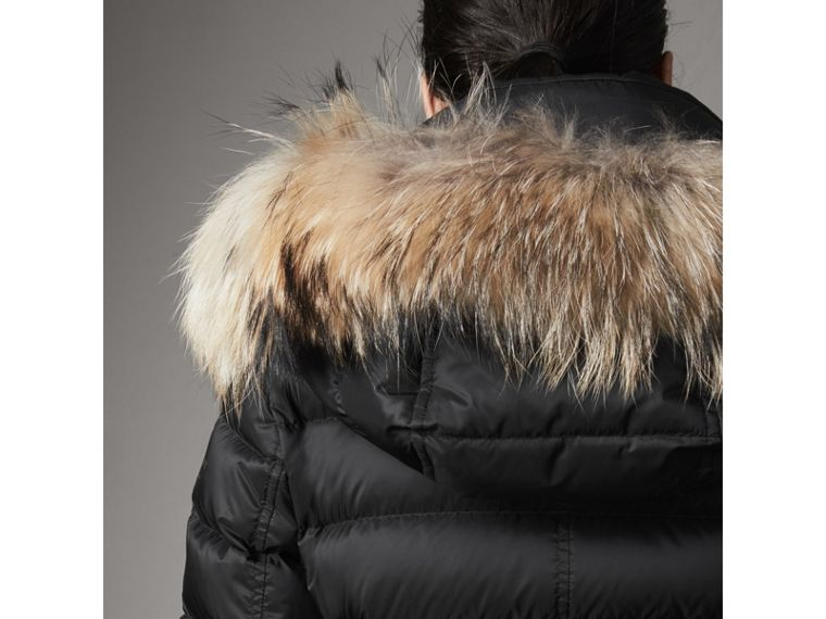Detachable Fur Trim Down-filled Puffer Coat with Hood in Black - Women | Burberry Singapore - cell image 4