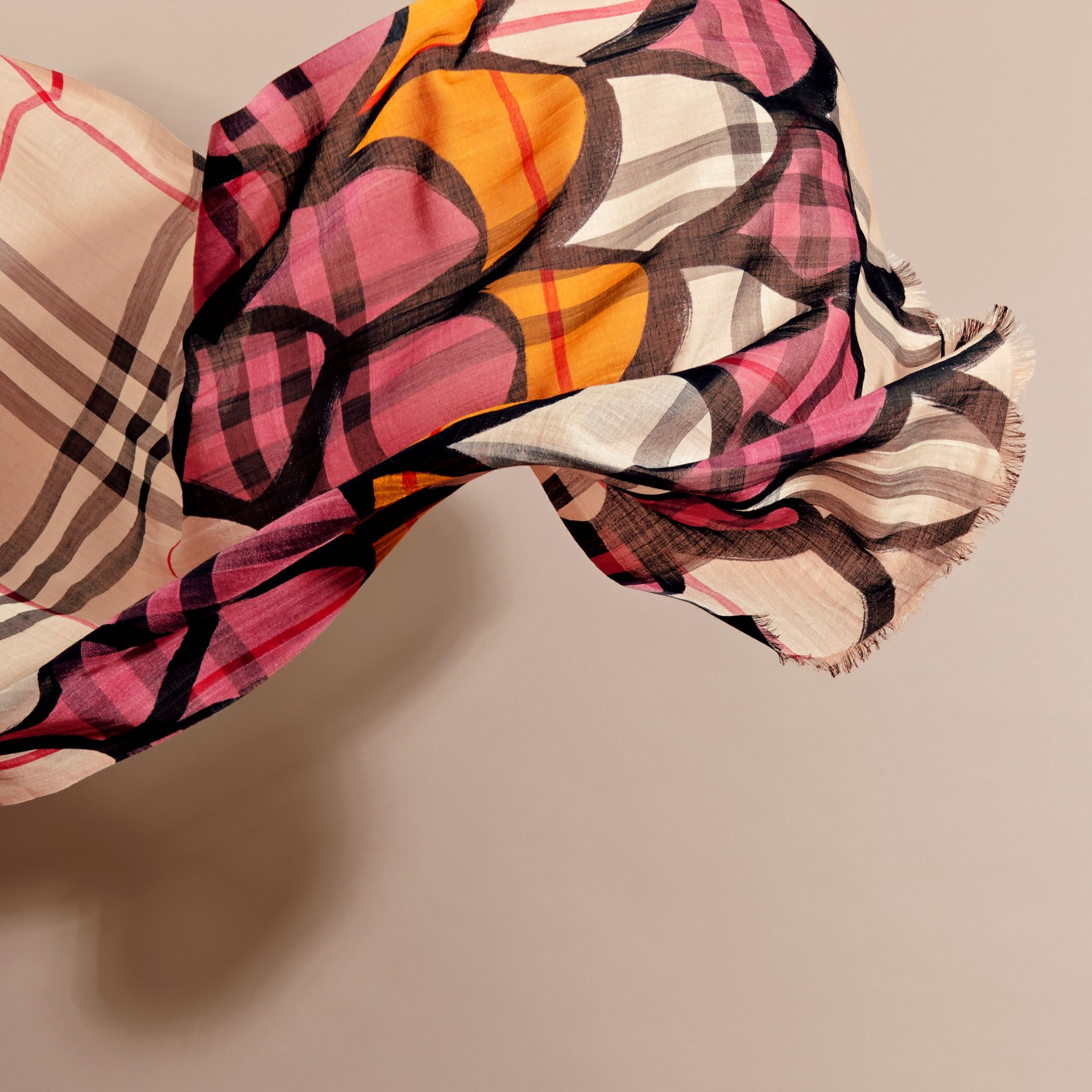 Check Wool Silk Scarf with Trompe L'oeil Print in Dusty Pink - Women | Burberry - gallery image 4