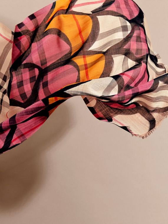 Check Wool Silk Scarf with Trompe L'oeil Print in Dusty Pink - Women | Burberry - cell image 3