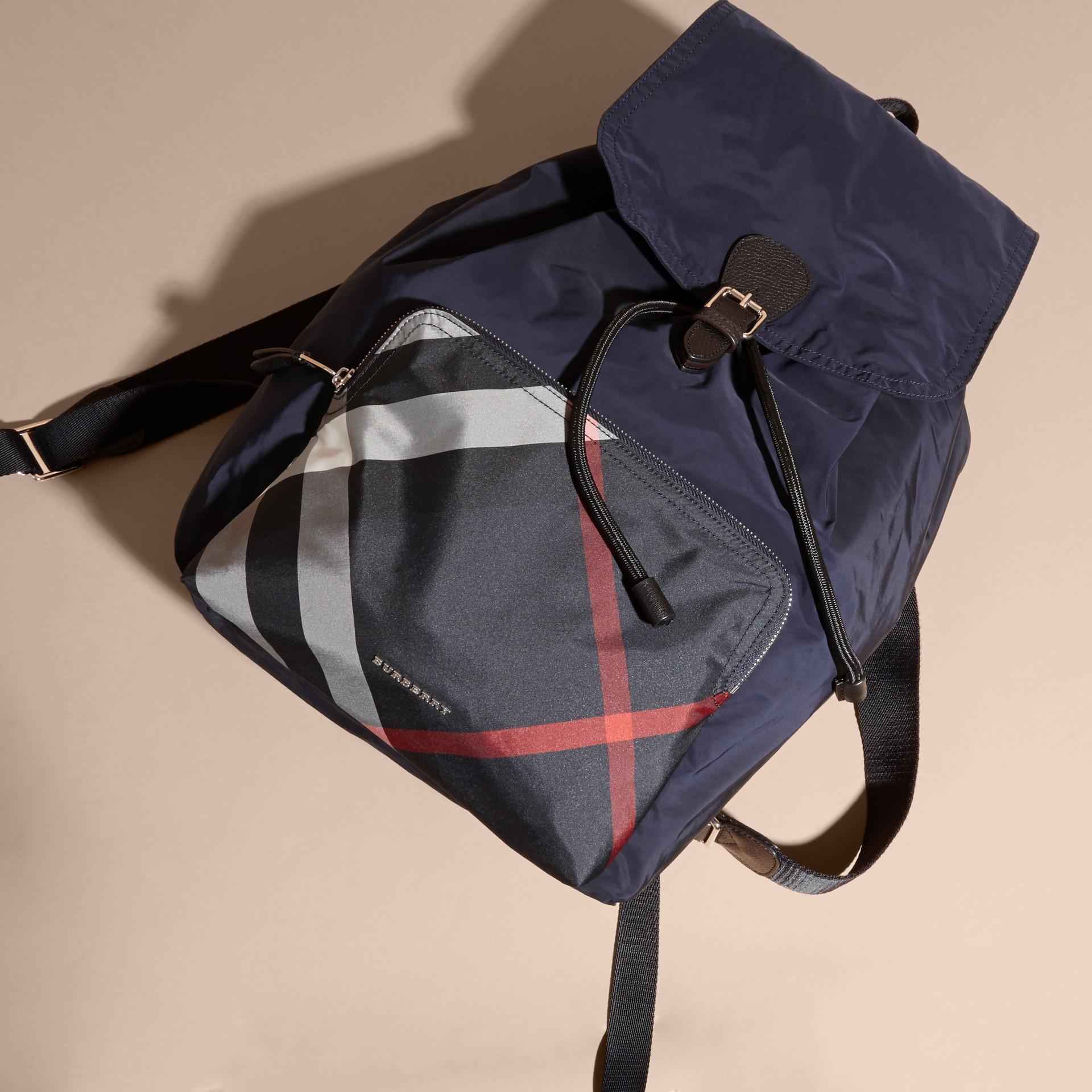Check Detail Technical Packaway Rucksack Navy - gallery image 7