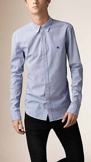 Slim Fit Striped Stretch-Cotton Shirt