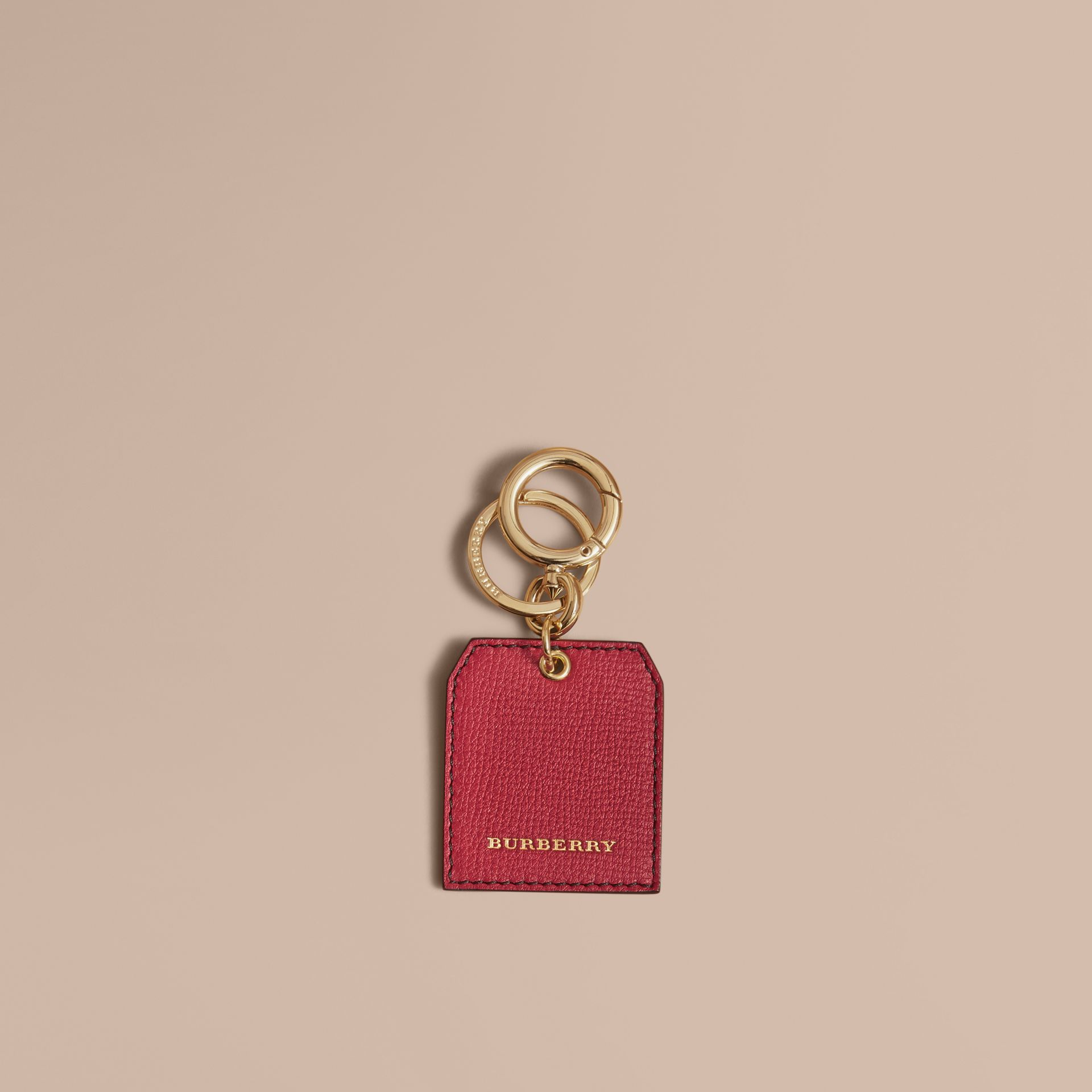 Leather Key Charm in Parade Red - Women | Burberry - gallery image 1