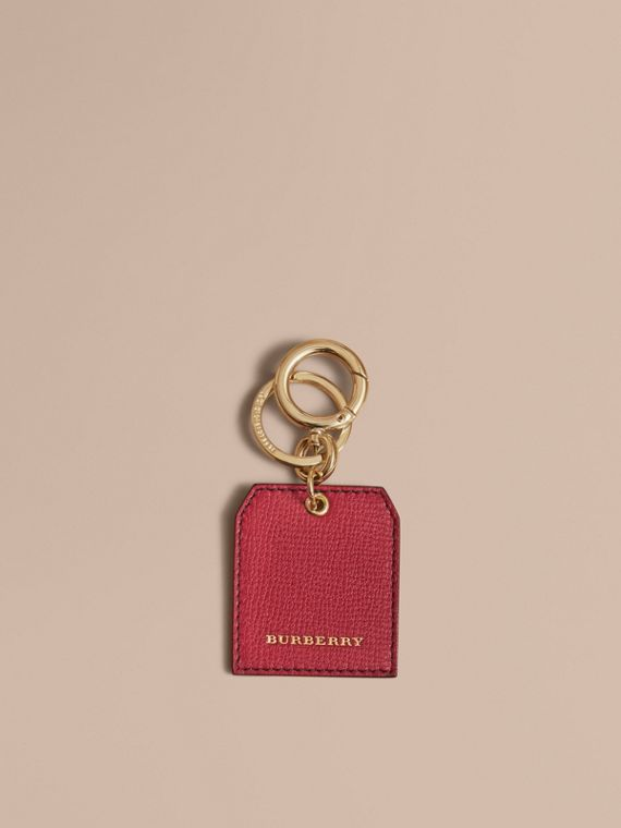 Leather Key Charm in Parade Red