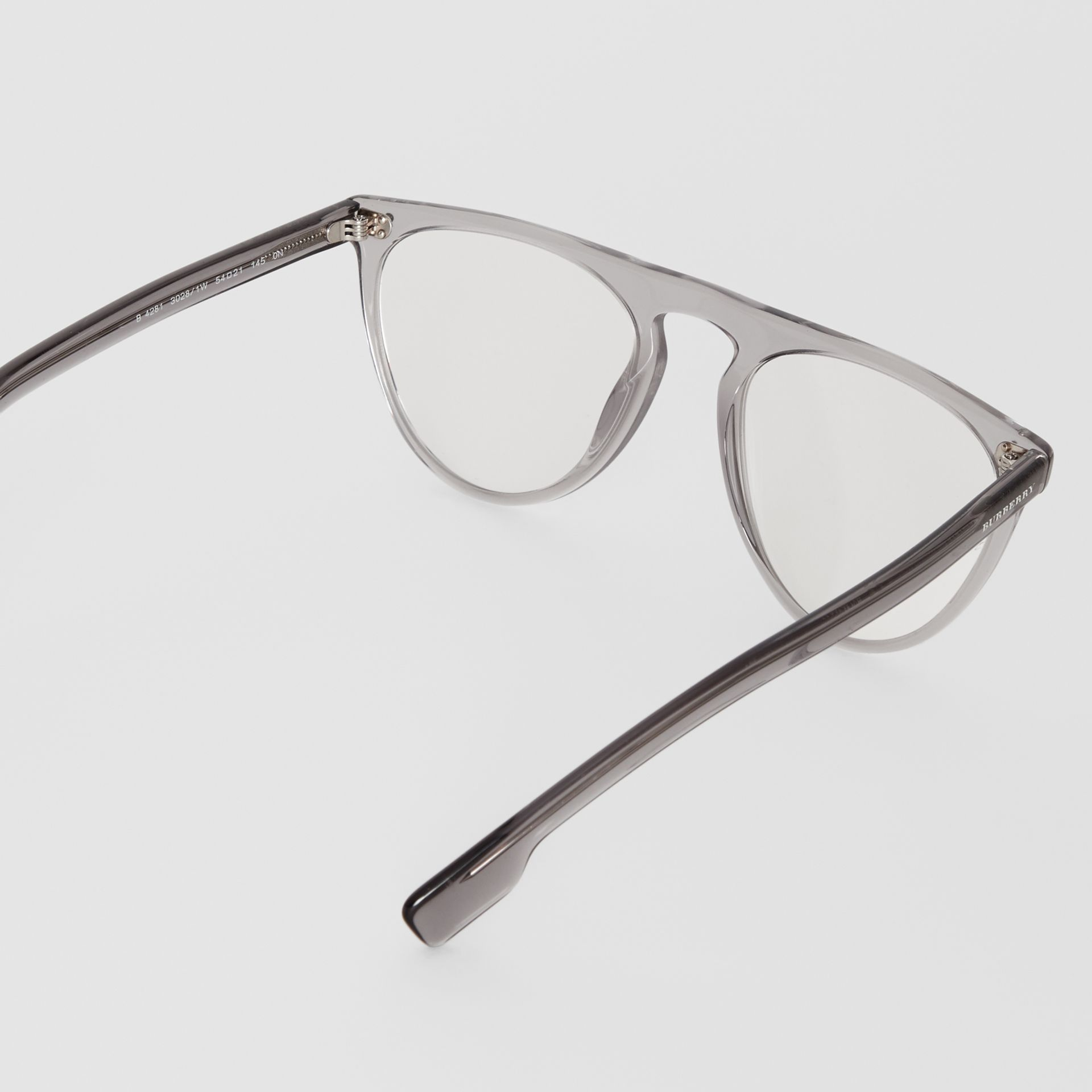 Keyhole D-shaped Optical Frames in Grey - Men | Burberry Singapore - gallery image 4