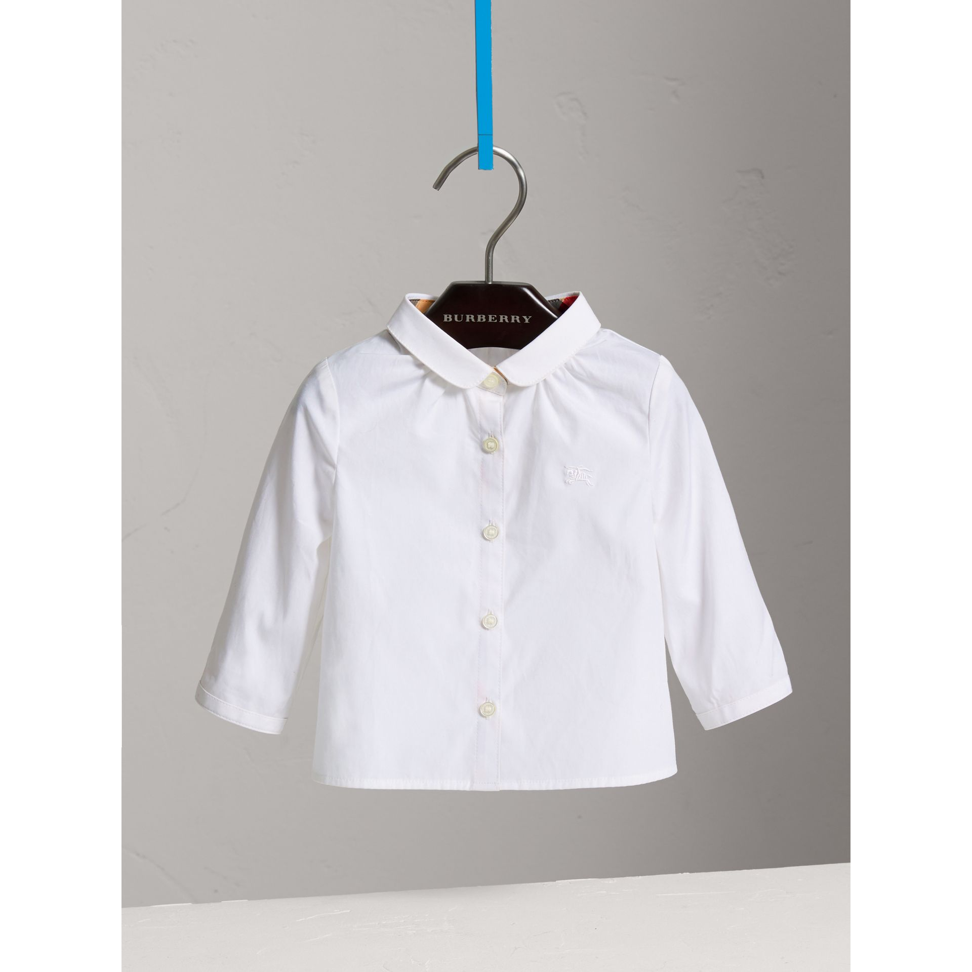 Peter Pan Collar Cotton Shirt in White - Girl | Burberry - gallery image 0