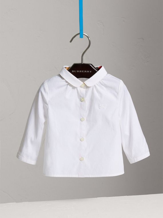 Peter Pan Collar Cotton Shirt in White