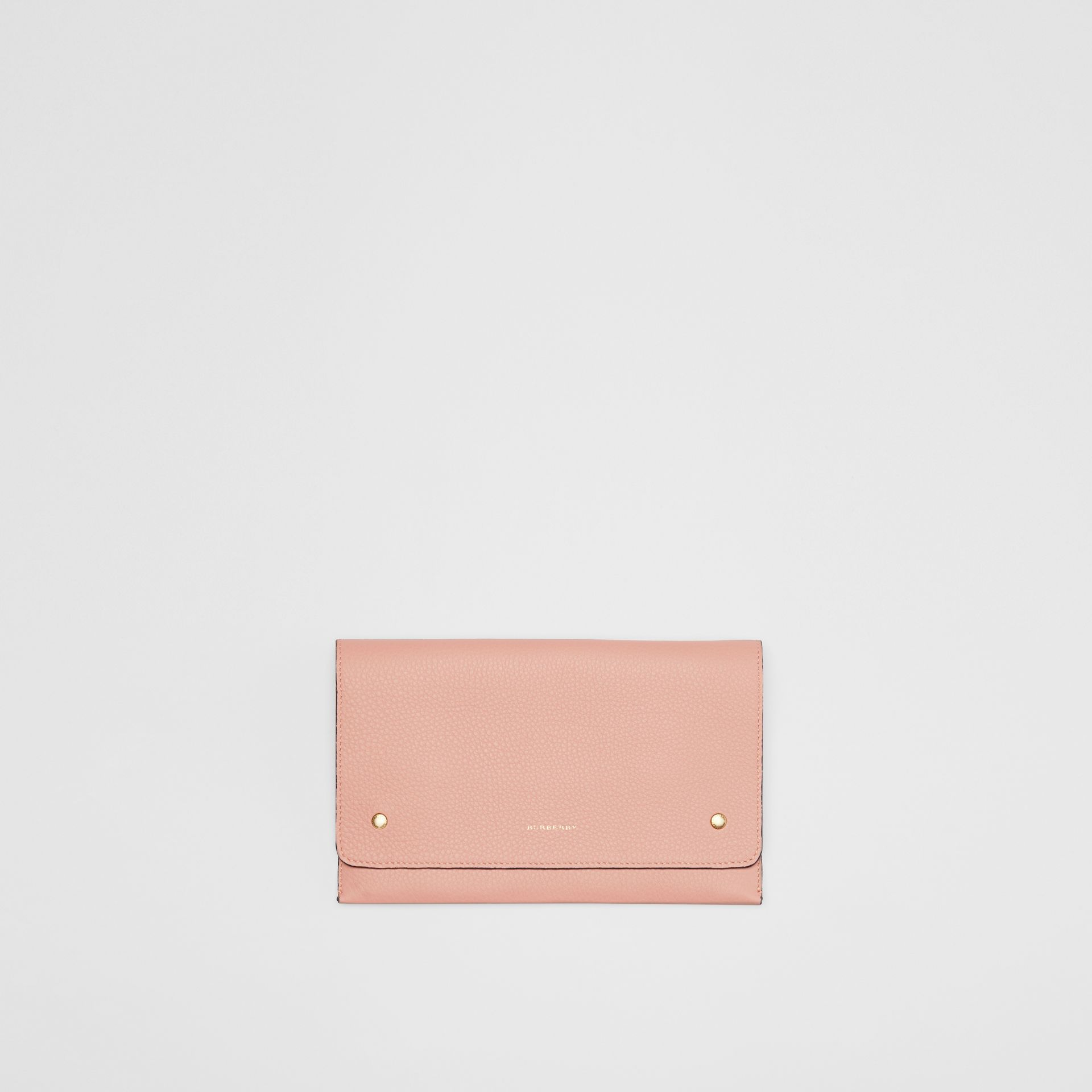 Clutch wristlet en cuir bicolore (Rose Platiné) - Femme | Burberry - photo de la galerie 0