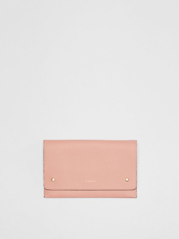 Two-tone Leather Wristlet Clutch in Ash Rose