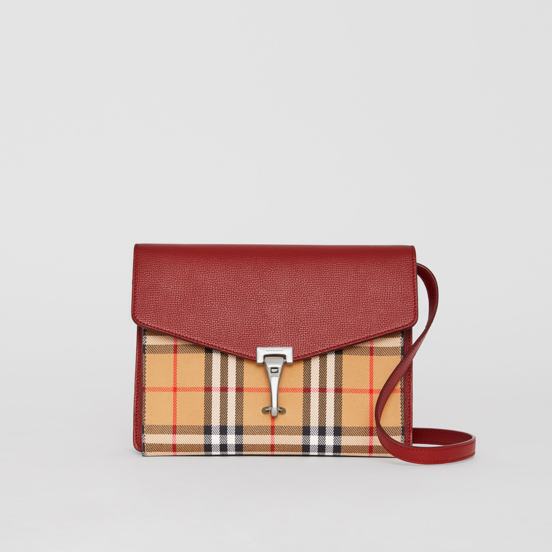 Small Vintage Check and Leather Crossbody Bag in Crimson - Women | Burberry Australia - gallery image 0