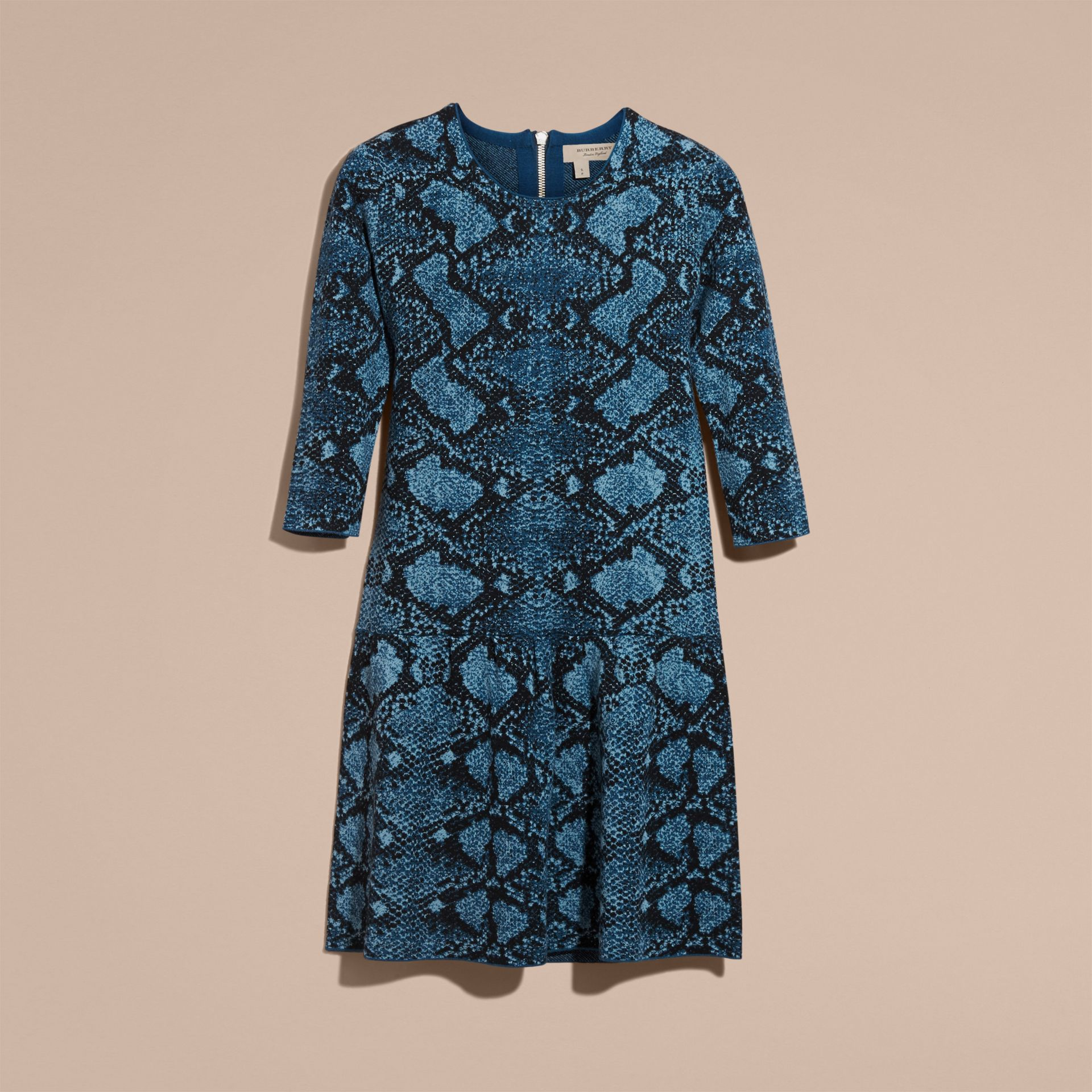 Mineral blue Python Jacquard Merino Wool Dress - gallery image 4